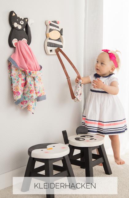 Kleiderhacken für Kinder aus Holz mit Tiermotiven