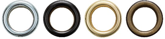 Die verfügbaren Farben der Ösen: silber, schwarz, gold, altgold